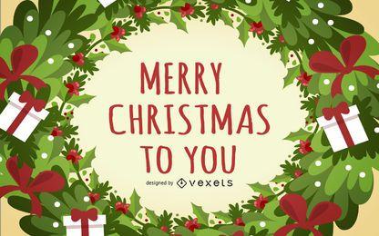 Vorlage Weihnachtskarte mit Kranzrahmen