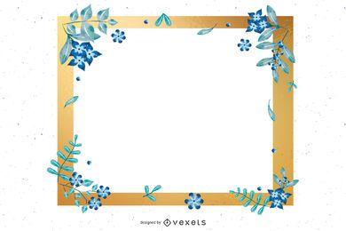 Tarjeta de invitación en blanco azul y dorado