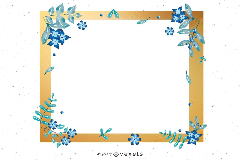 Blue & Golden Blank Invitation Card