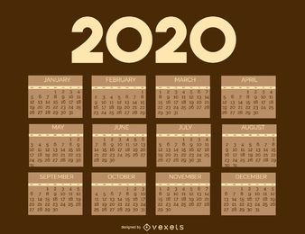 Plantilla de calendario Brownie Vintage 2020