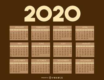Vintage 2020 Brownie Kalenderschablone