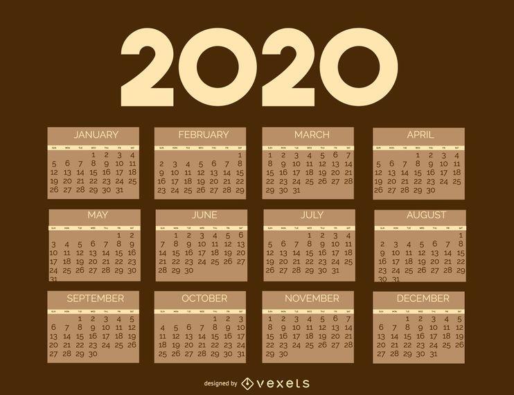 Modelo de calendário de brownie vintage 2020