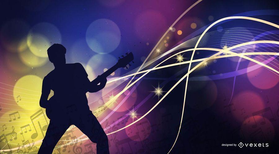 Cool cartel musical con luces de rayos