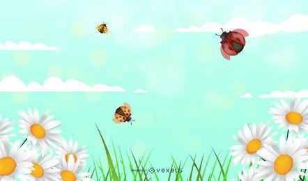 Ausführlicher Daisy Floral Sunny Background