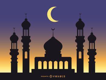 Mezquita de fondo con cielo azul estrellado