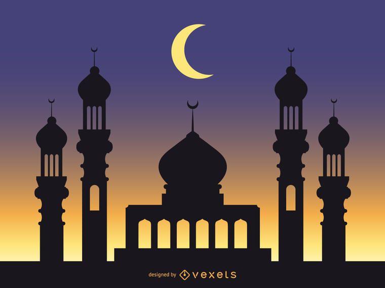 Moschee-Hintergrund mit sternenklarem blauem Himmel