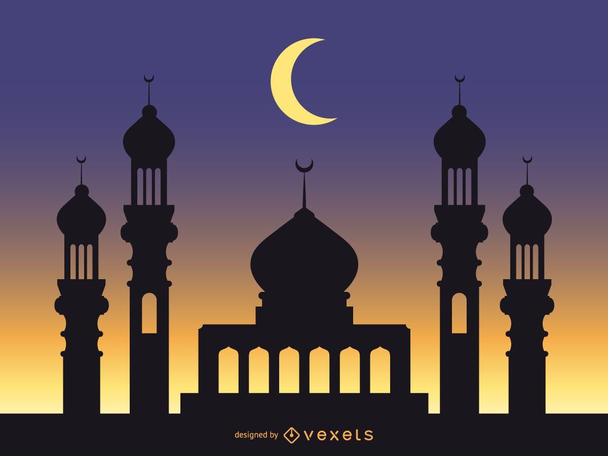 Fondo de mezquita con cielo azul estrellado