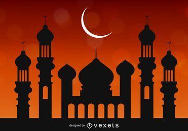 Moschee über hellem rötlichem Himmel
