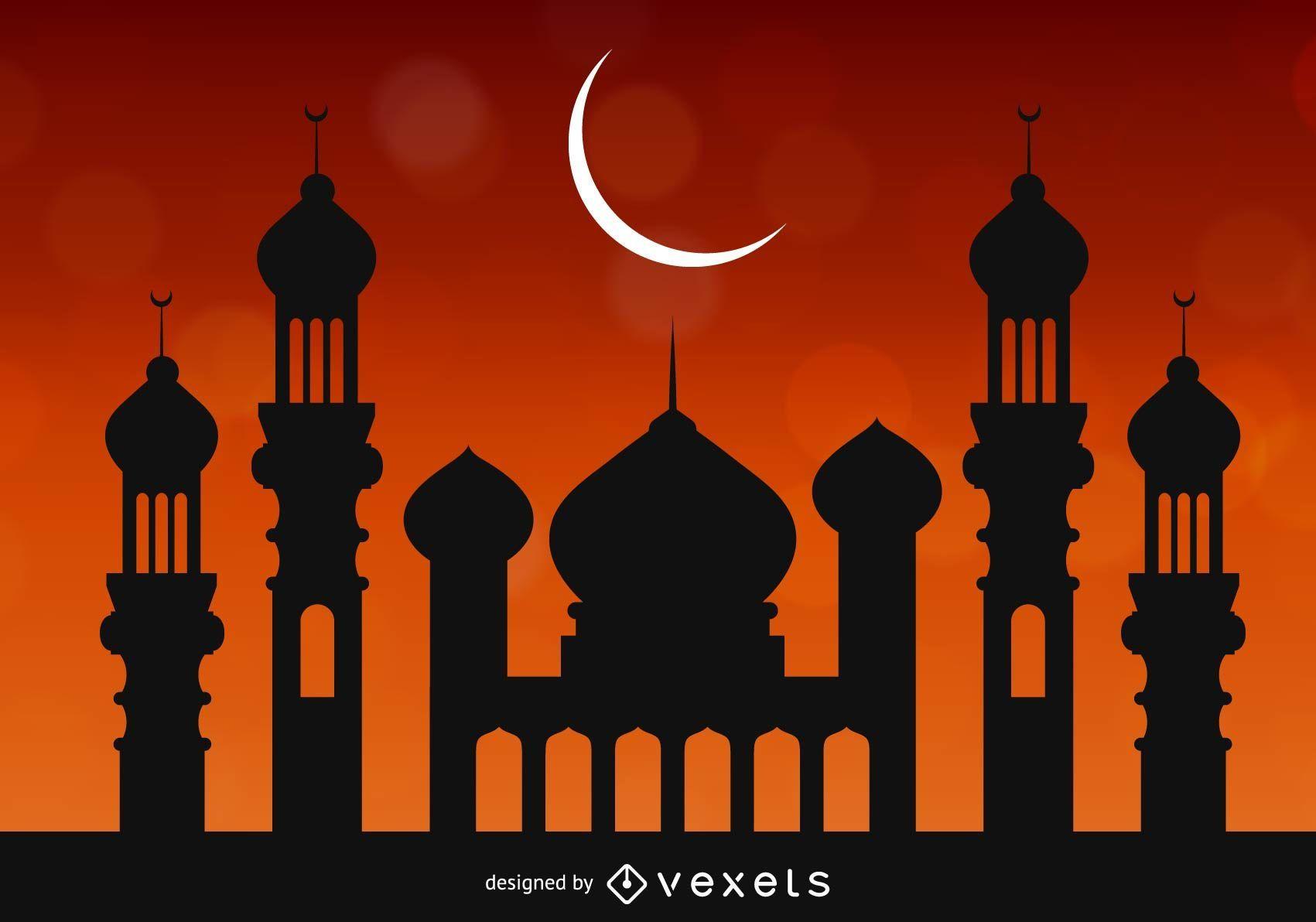 Mezquita sobre cielo rojizo brillante