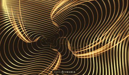 Rayas onduladas fondo dorado brillante