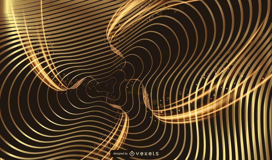 Fundo de espumante dourado listras onduladas
