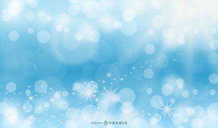Diseño de fondo de luces azul brillo y bokeh