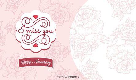 """Design de cartão de aniversário """"I Miss You"""""""