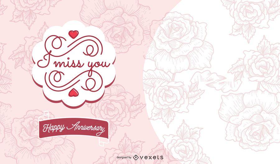 Cartão de aniversário padrão floral com fita