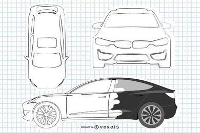 Sedan BMW en blanco y negro