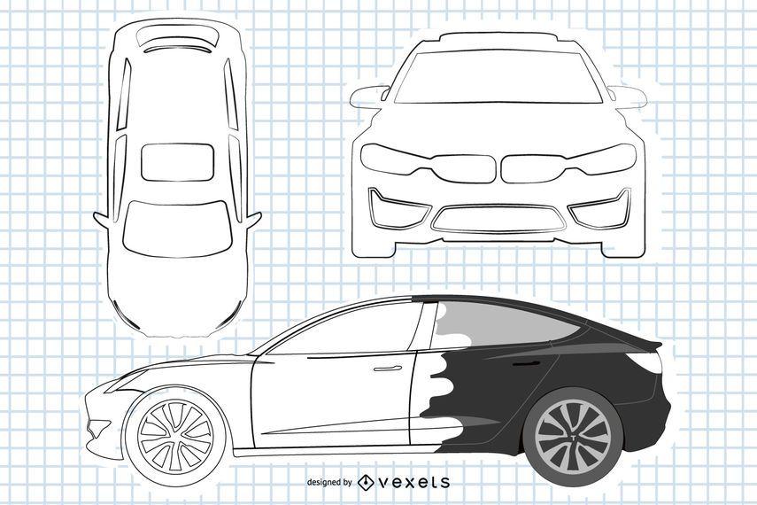 Black & White BMW Sedan Car