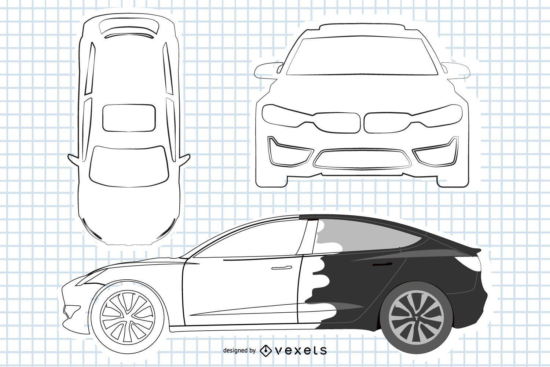 Coche sedán BMW blanco y negro
