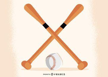 Bates de béisbol cruzados con bola debajo