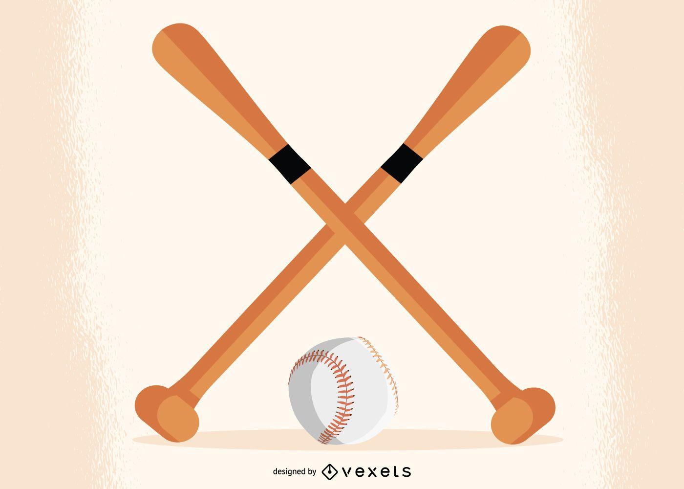 Bates de b?isbol cruzados con bola debajo