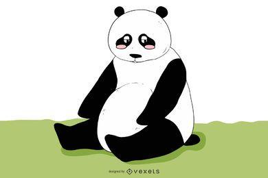 Panda triste funky en blanco y negro
