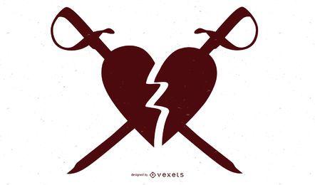 Coração partido esfaqueado com espadas