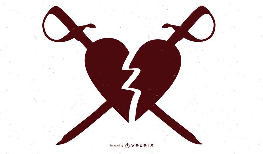 Corazón roto apuñalado con swards