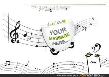 Apuntes de personal con espacio para mensajes