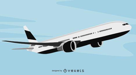 Airbus de pasajeros grandes en blanco y negro