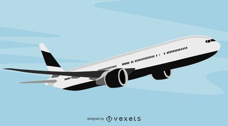 Airbus preto e branco para passageiros grandes