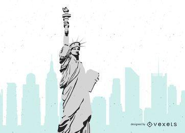 Estatua de la libertad en blanco y negro