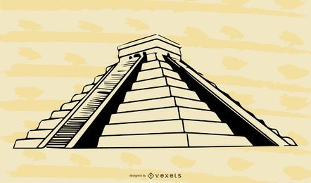 Black & White Mayan Pyramid