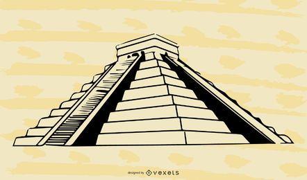 Pirâmide maia em preto e branco