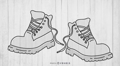 Par de botas de contorno de sola grossa