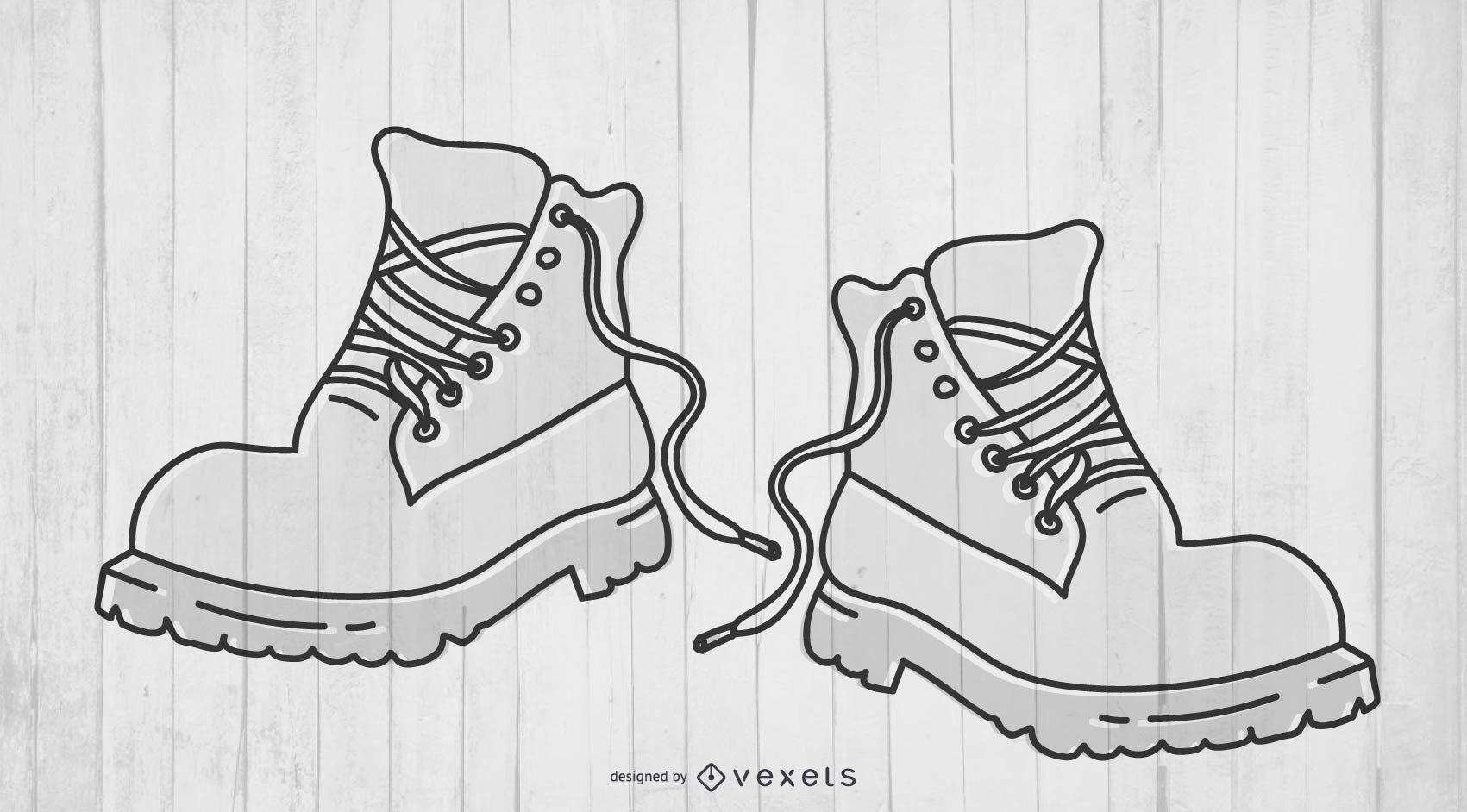 Par de botas com sola grossa