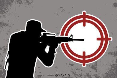 Francotirador blanco y negro con signo de objetivo