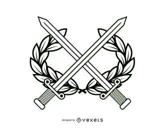 Línea del escudo de armas de Arte Militar