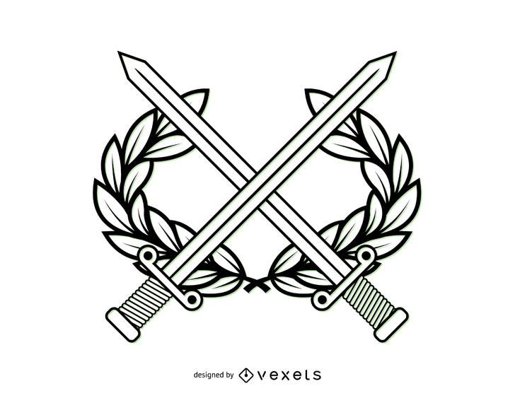 Línea arte militar escudo de armas