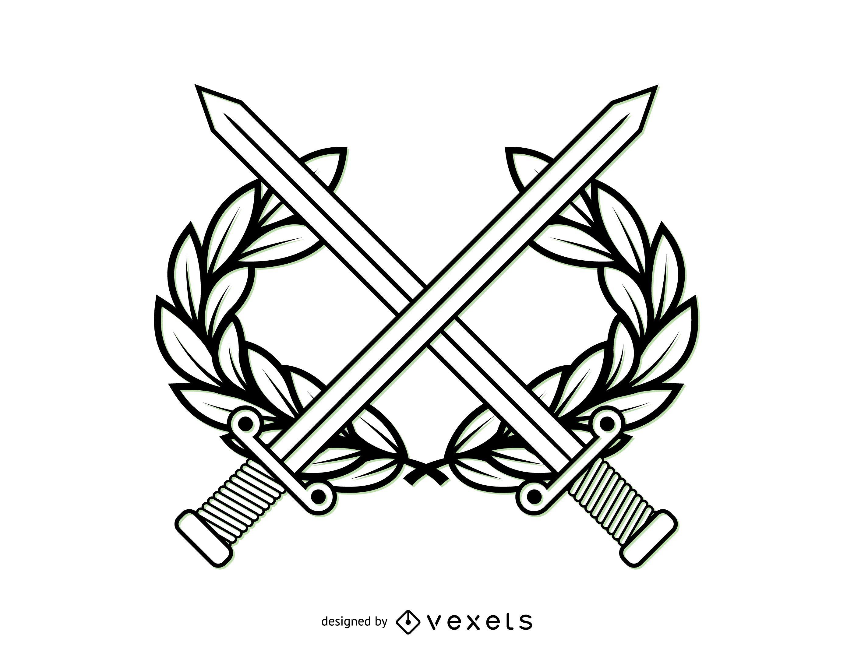 Escudo de armas militar de arte lineal