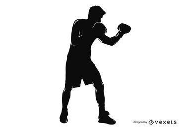 Silueta de pose de boxeador