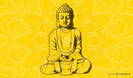 Monje budista de arte lineal