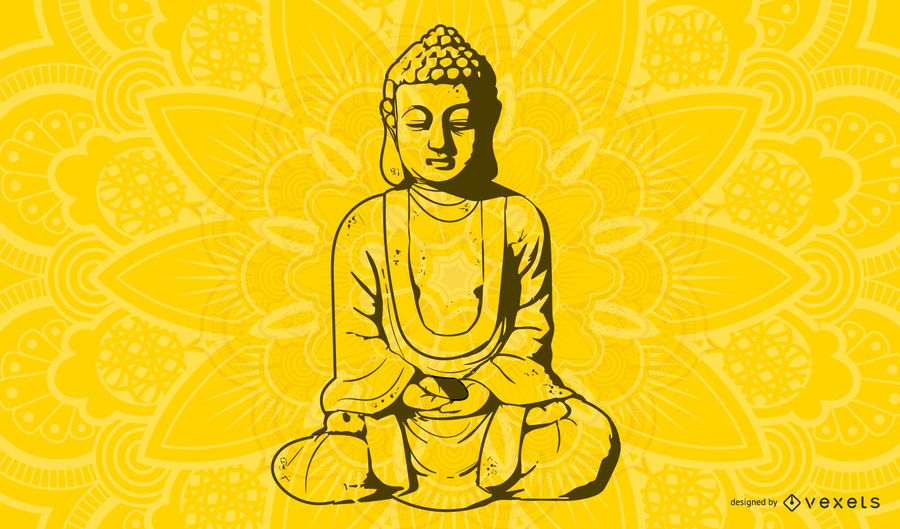 Línea arte monje budista