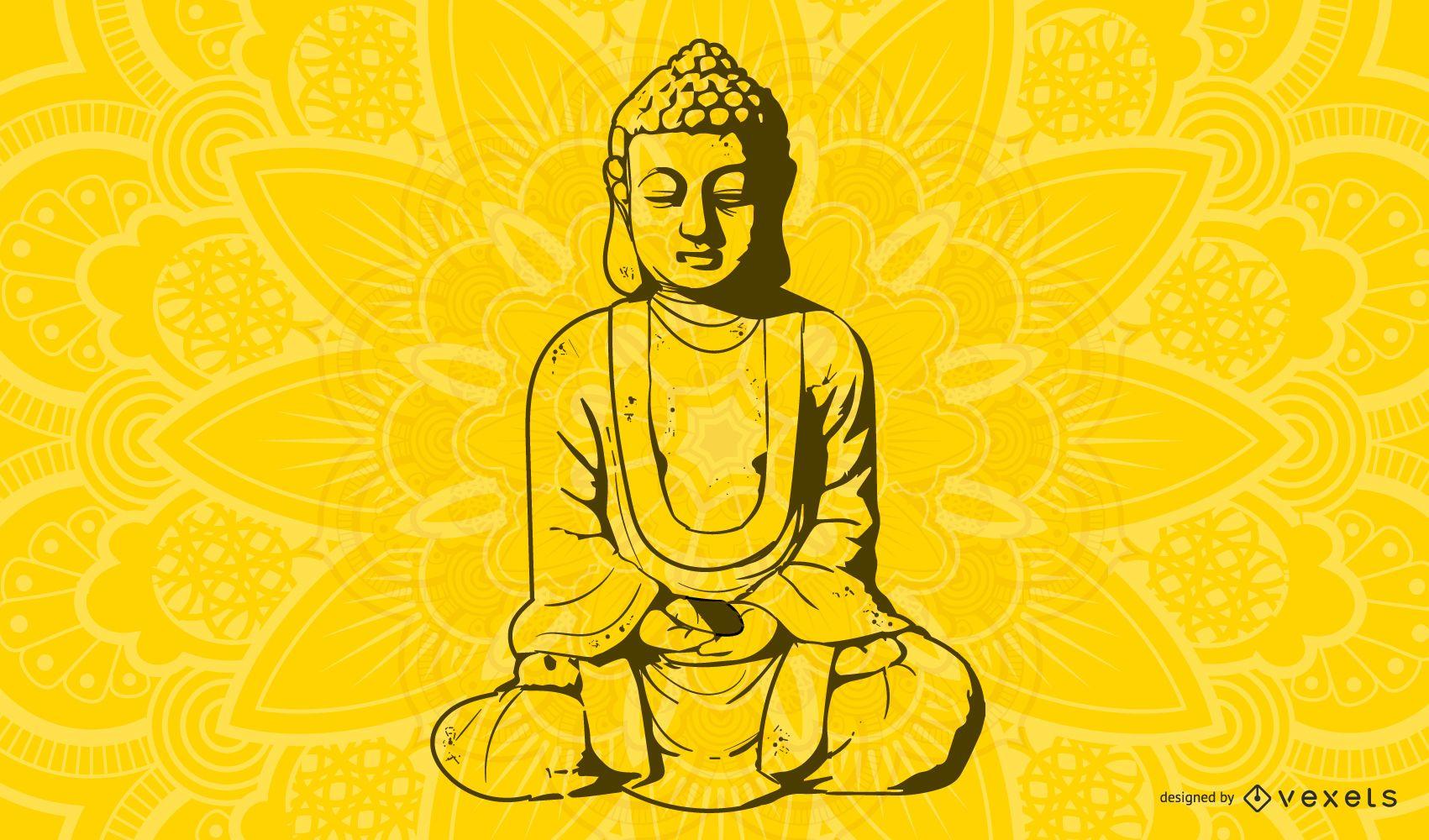 Line Art Buddhist Monk