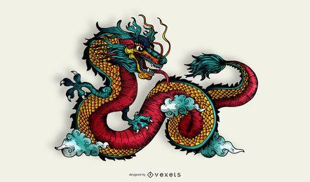Dragón funky con cuerpo rojo con curvas