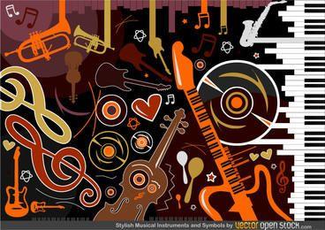 Instrumentos musicales y símbolos con estilo