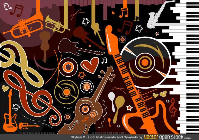 Instrumentos musicais e símbolos elegantes