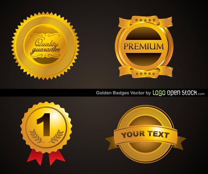 four golden badges template vector download