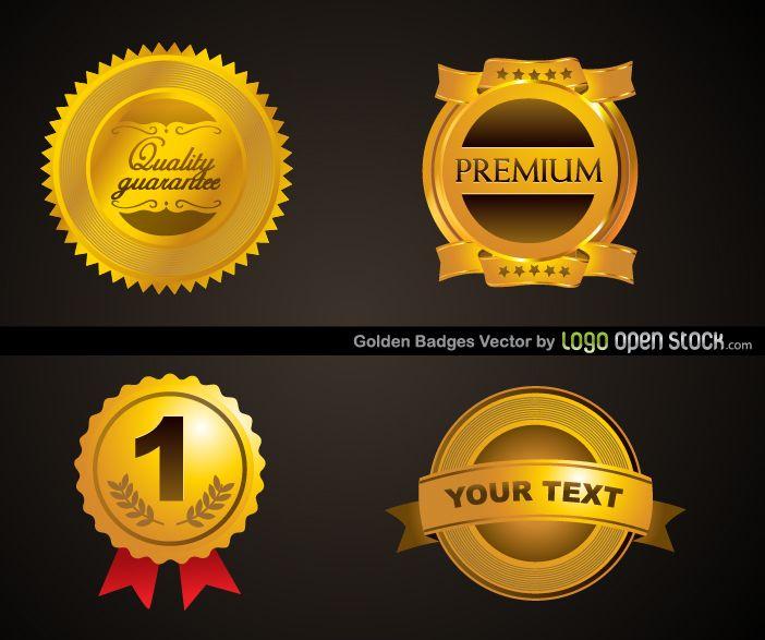 Modelo de quatro emblemas dourados