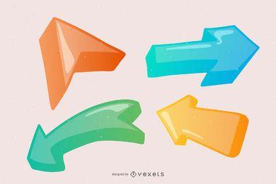 Paquete de flechas 3D decorado brillante