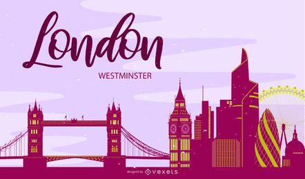 Silhueta de Londres de horizonte de Westminster