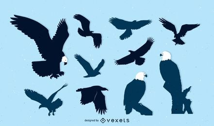 Pacote de ave de águia de silhueta